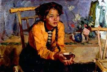 Cô gái dân tộc Thái sơn dầu (không rõ năm sáng tác, kích thước và vật liệu nền)