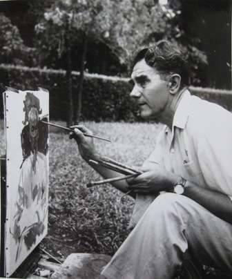 Alexei Kuznetsov đang vẽ chân dung Hồ Chí Minh tại Hà Nội năm 1960