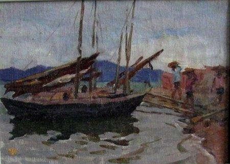 Thuyền buồm (1960) sơn dầu trên canvas, 36 x 42 cm