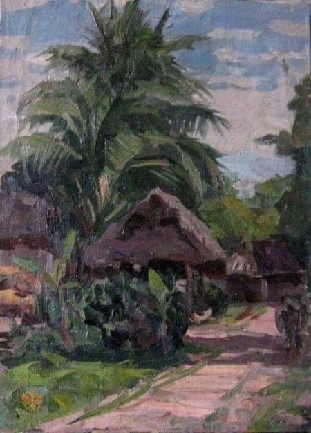 Phong cảnh nông thôn ngoại thành Hà Nội (1961) sơn dầu trên canvas, 41 x 30 cm
