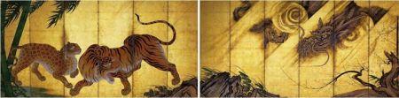 Kano Sanraku (1559 - 1635) Hổ và rồng (phái Kano)