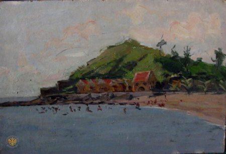 Trên bờ vịnh Hạ Long (1961) sơn dầu trên canvas, 35 x 50.5 cm