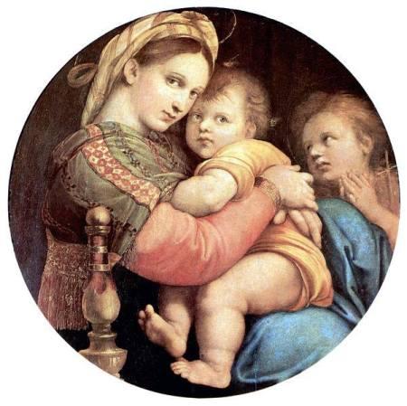 Raphael Madonna della Sedia (1513 - 1514) sơn dầu trên ván gỗ, 71 x 71 cm Palazzo Pitti, Florence
