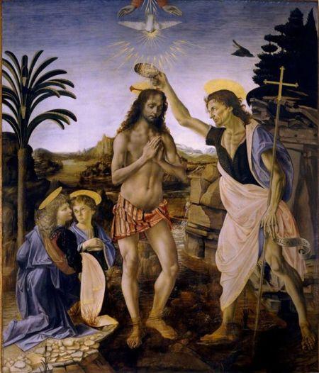 Andrea Verrocchio do Leonardo da Vinci hoàn thiện Lễ rửa tội cho Chúa Jesus (1468 - 1477) tempera và sơn dầu trên ván gỗ, 177 x 151 cm Galleria degli Uffizi, Florence