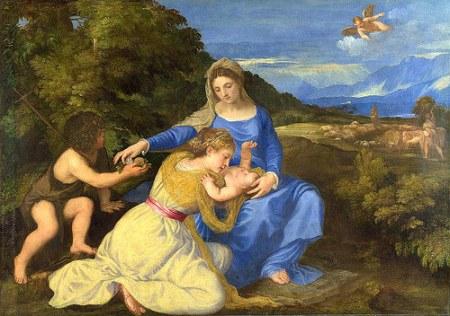 No 11:Đức mẹ và Chúa Hài Đồng với Thánh John Tẩy giả và Thánh Catherine (The Aldobrandini Madonna), kh. 1532, 102.5 x 143.7 cm, National Gallery London