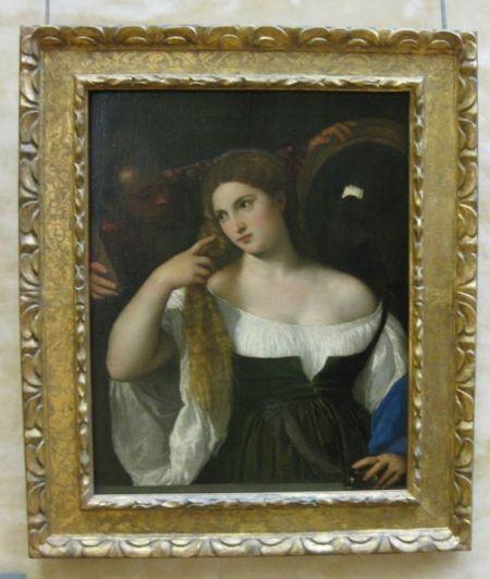 Titian Người đàn bà trước gương (kh. 1515) sơn dầu trên canvas, 96 x 76 cm Louvre, Paris