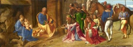 Giorgione Sự ngưỡng mộ của các vị vua (1506 - 1507) sơn dầu trên ván gỗ, 29.8 x 81.3 cm National Gallery London