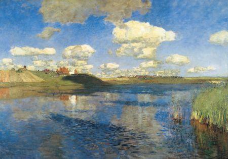Isaak Levitan Hồ. Nước Nga xưa (1899 -1900) (tức được vẽ sau khi nhìn thấy Monet và Böcklin vào năm 1889) sơn dầu trên canvas, 149 208 Bảo tàng Nga, St. Petersburg