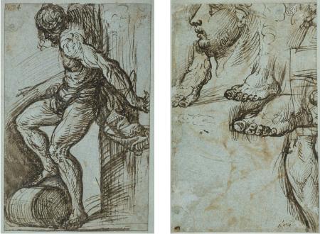 Titian Dessin nghiên cứu dáng của thánh Sebastian cho bức đa bình Averoldi (kh. 1520) Trái: Mặt trước trang giấy. Phải: Mặt sau trang giấy. bút sắt và bút lông nhúng mực nâu xám trên giấy lam nhạt, 18 x 11.5 cm Frankfurt Städel Museum