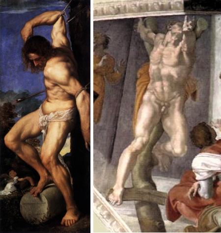 Hình hoạ của Michelangelo có lẽ đã gây cảm hứng cho Titian. Trái: Thánh Sebastian từ bức đa bìnhAveroldi (1520 - 1522) của Titian. Phải: Trích đoạn