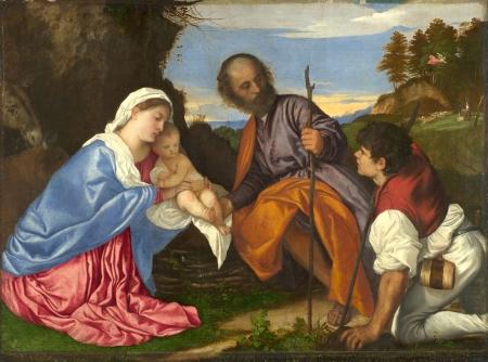 No 4: Gia đình thánh với mục đồng, kh. 1510, 104.6 x 143 cm, National Gallery London