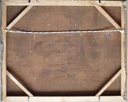 Một bức sơn dầu của Tạ Tỵ được căng lại trên khung ghép mộng vuông góc.