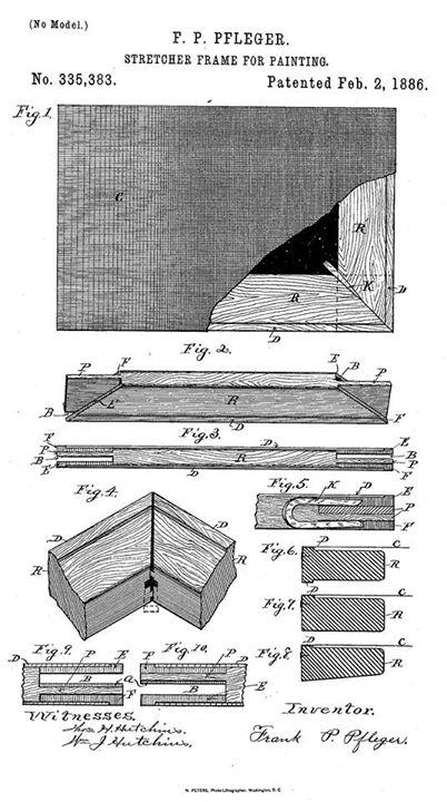 Đăng ký sáng chế canvas-strecher joint năm 1886 của P.F. Pfleger