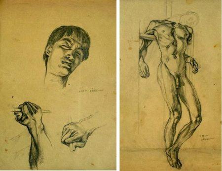 Nguyễn Đình Đăng Tự họa (dessin chuẩn bị cho bức Cái chết của hoạ sĩ, 1987)