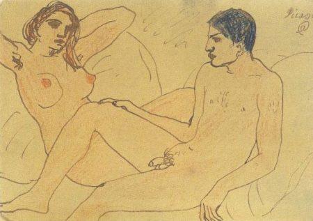 Pablo Picasso Tự họa với một nữ khỏa thân (1903)