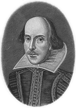 Tôi đã vẽ chân dung Shakespeare từ bức hình như thế này trong bách khoa toàn thư Petit Larousse
