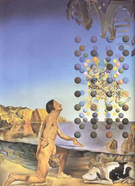 Salvador Dalí Dalí khỏa thân đang chiêm ngưỡng năm vật thể cân đối (1954)