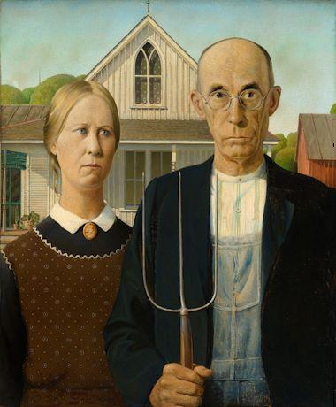 Grant Wood American Gothic (1930) sơn dầu trên gỗ dán,78 x 65.3 cm(30 3/4 x 25 3/4 in.)