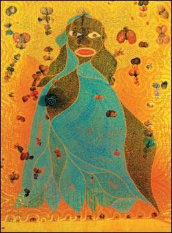 Chris Ofili Đức Mẹ Đồng Trinh Mary (1966) chất liệu hỗn hợp gồm sơn dầu, trang kim, nhựa polyester, phân voi, và dán các hình ảnh chụp bộ phận sinh dục nữ