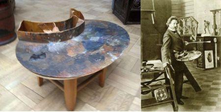 Palette của Ilya Repin (trái) cùng chính chủ (phải)