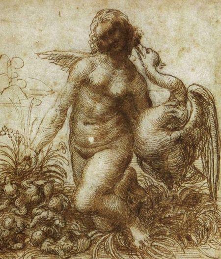 Leonardo da Vinci Dessin nghiên cứu Leda đang quỳ