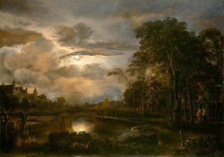 Aert van der Neer Cảnh đêm trăng với cây cầu (1648 - 1650) sơn dầu trên ván gỗ, 78.4 x 110.2 cm National Gallery of Art, Washington D.C.