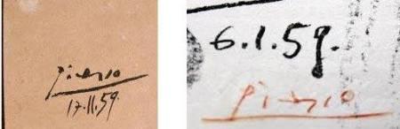 Mẫu chữ ký năm 1959 từ tranh của Picasso
