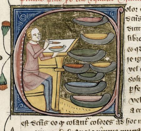 London, Thư viện Anh. Royal 6 E. VI, f. 329. Theo Jonathan Alexander, Các hoạ sĩ minh hoạ thời Trung Cổ và các phương pháp làm việc của họ (New Haven và London: NXB Đại học Yale, 1992), hình 59, trang 40.