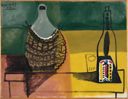 Bức tranh gốc của Pablo Picasso Tĩnh vật với chai vang to (1959) sơn dầu trên canvas, 89 x 116 cm Trung tâm Georges Pompidou