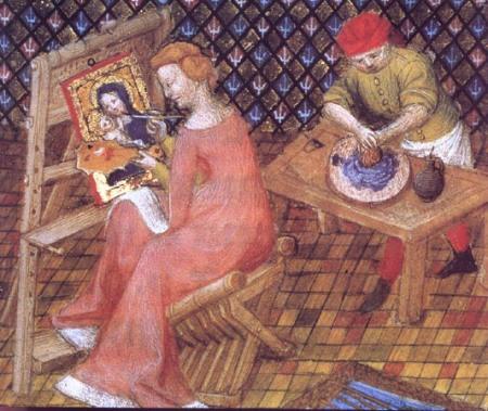 Tamaris vẽ Đức Mẹ và Chúa Hài Đồng. Bên cạnh là một đồ đệ đang nghiền màu. Minh hoạ trong cuốn De Mulieribus Claris của Boccaccio vào đầu t.k. XV