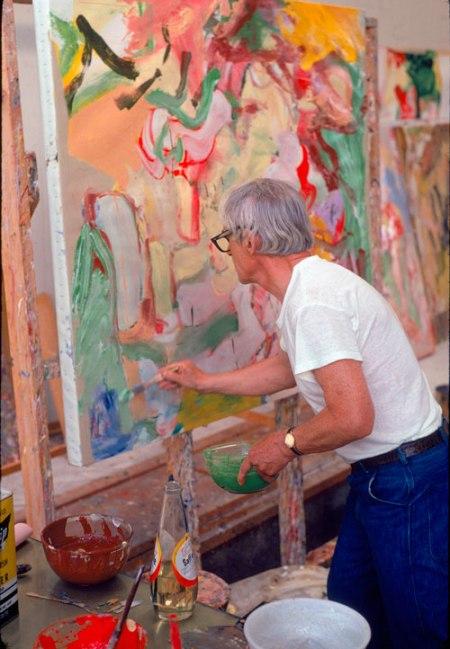 Willem de Kooning trộn dầu ăn với sơn dầu trong bát để vẽ (1971)