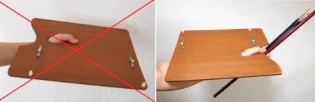 Cầm palette đúng (phải) và sai (trái)