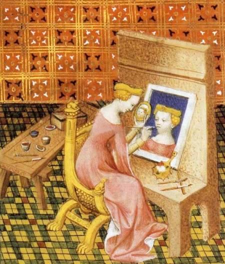 Marcia đang soi gương vẽ chân dung tự hoạ. Minh hoạ từ bản thảo cuốn De Mulieribus Claris của Boccaccio vào đầu t.k. XV