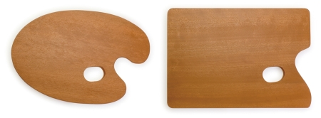 Palette gỗ hình bầu dục (phải) và hình chữ nhật (phải)