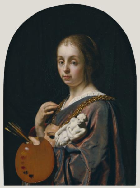 Frans van de Mieris Pictura (Một biểu tượng hội họa) (1661) sơn dầu trên đồng, 12.7 x 8.9 cm