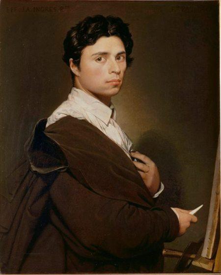 Jean-Aguste-Dominique Ingres Tự hoạ năm 24 tuổi (1804) sơn dầu, 78 x 61 cm. Ingres là thiên tài cuối cùng về dessin cổ điển.