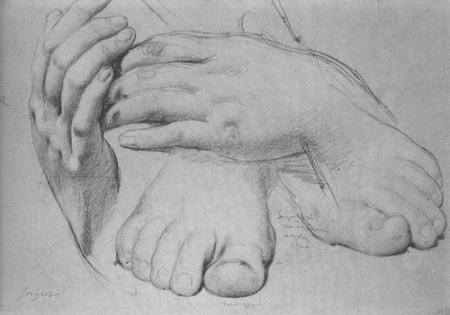 Jean-Auguste-Dominique Ingres Nghiên cứu bàn tay và bàn chân (1862) bút chì