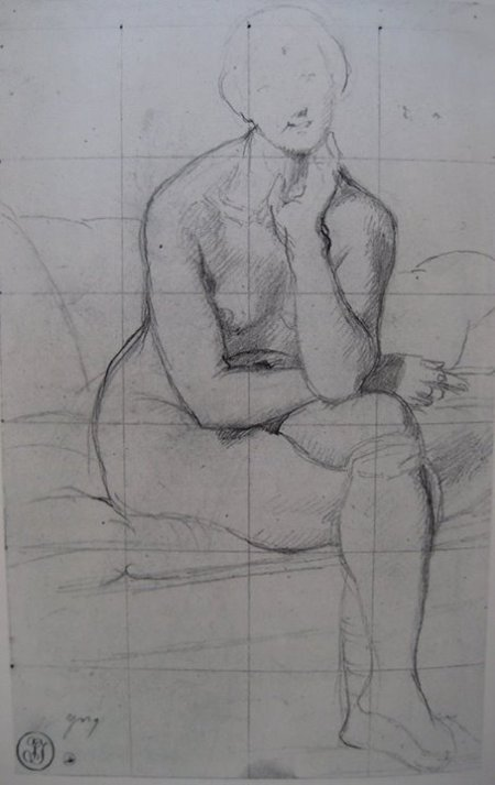 Ngay cả khi vẽ chân dung người mặc quần áo (hình dưới), Ingres cũng dùng kiến thức giải phẫu cơ thể người của mình để hiểu cơ thể dưới áo. (1848) bút chì