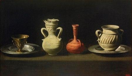 Francisco Zurbaran (1598 - 1664) Tĩnh vật với 4 cái bình và cốc (kh. 1635 - 1664) sơn dầu, 47 x 79 cm