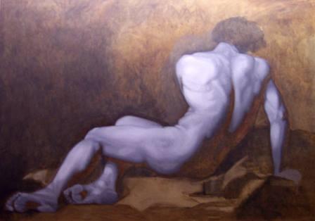 """Bản chép (ở giai đoạn vẽ lót) bức hoạ """"Patroclus"""" của Jacques-Louis David do học sinh xưởng hoạ sĩ D. Jeffrey Mims, North Carolina, thực hiện (2006) sơn dầu trên canvas, 121.92 x 198.12 cm"""