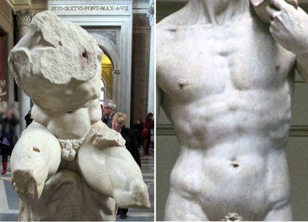 Trái: Belvedere torso. Phải: Trích đoạn tượng David của Michelangelo