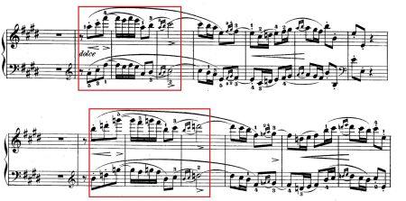 Hai appoggiatura kép trong nhịp 173 và 181 ở chương 3 (nhịp cuối trong khung đỏ)