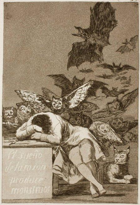 Francisco Goya Giấc ngủ của lý trí sinh ra các quái vật (1799)